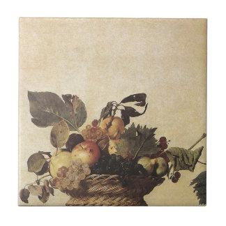 La cesta de Caravaggio de fruta Azulejo Cuadrado Pequeño