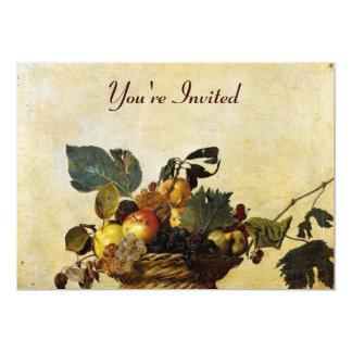 La cesta de Caravaggio de fruta Invitacion Personalizada