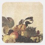 La cesta de Caravaggio de fruta Pegatina Cuadrada
