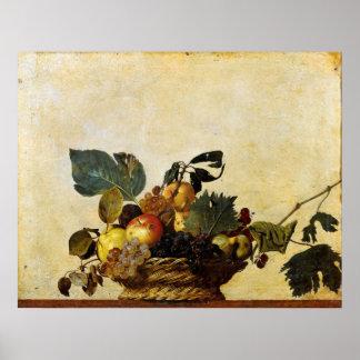 La cesta de Caravaggio de fruta Póster