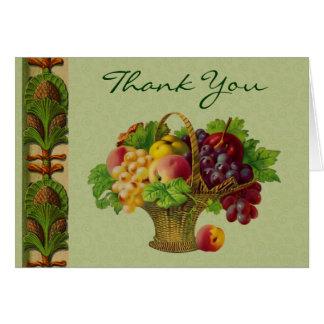 La cesta de fruta del arte del vintage le agradece tarjeta pequeña