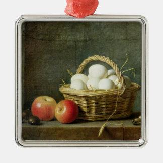 La cesta de huevos, 1788 adorno cuadrado plateado