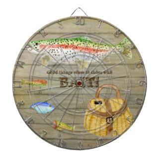 La cesta de la pesca de la trucha de la cabina del