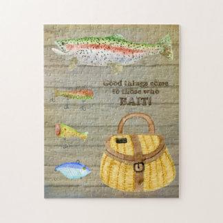 La cesta de la pesca de la trucha de la cabina del rompecabezas con fotos