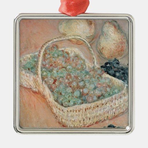 La cesta de uvas, 1884 adorno cuadrado plateado