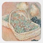La cesta de uvas, 1884 calcomanía cuadradas personalizadas
