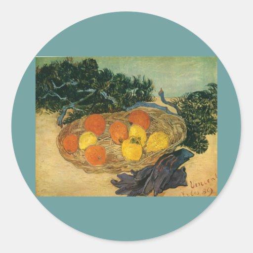 La cesta de Vincent van Gogh de la fruta y de los  Pegatinas Redondas