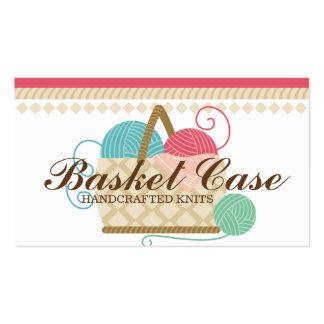 La cesta del hilado del ganchillo que hace punto tarjetas de visita