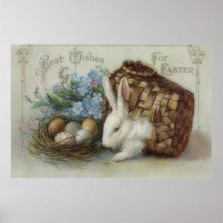 La cesta pintada coloreada del huevo del conejito  poster