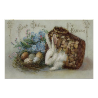 La cesta pintada coloreada del huevo del conejito  póster