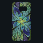 """La Chanteuse IV Abstract Stained Glass Samsung Galaxy S7 Case<br><div class=""""desc"""">Samsung Galaxy S7 case with """"La Chanteuse IV, """" an abstract fractak by Susan Wallace,  Copyright © 2010. Faux stained glass floral design in bright blue,  purple and green</div>"""