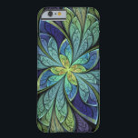 "La Chanteuse IV Abstract Stained Glass Pattern Barely There iPhone 6 Case<br><div class=""desc"">iPhone 6 case with &quot;La Chanteuse IV&quot;,  an abstract design copyright &#169; 2010,  Susan Wallace. Faux stained glass pattern in shades of deep royal blue,  turquoise and purple,  with a central flower shape of bright green and yellow.</div>"