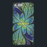 """La Chanteuse IV Abstract Stained Glass Pattern Barely There iPhone 6 Case<br><div class=""""desc"""">iPhone 6 case with &quot;La Chanteuse IV&quot;,  an abstract design copyright &#169; 2010,  Susan Wallace. Faux stained glass pattern in shades of deep royal blue,  turquoise and purple,  with a central flower shape of bright green and yellow.</div>"""