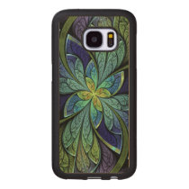 La Chanteuse IV Abstract Stained Glass Pattern Wood Samsung Galaxy S7 Case