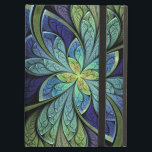 """La Chanteuse IV Cover For iPad Air<br><div class=""""desc"""">Faux stained glass leaves of green and turquoise frame a central flower in shades of blue and purple.</div>"""