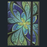 "La Chanteuse IV Cover For iPad Air<br><div class=""desc"">Faux stained glass leaves of green and turquoise frame a central flower in shades of blue and purple.</div>"