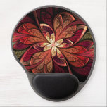 "La Chanteuse Rouge Gel Mouse Pad<br><div class=""desc"">Ergonomic gel mouse pad with &quot;La Chanteuse Rouge&quot;,  an abstract design by Susan Wallace. Copyright &#169; 2014,  Susan Wallace. Faux stained glass leaves in shades of red,  orange and gold frame a central flower of bright yellow in this intricate piece.</div>"