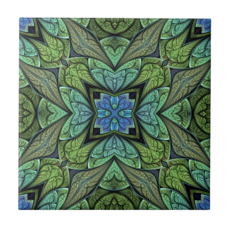La Chanteuse V Green and Blue Abstract Pattern Ceramic Tile
