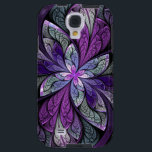 "La Chanteuse Violett Galaxy S4 Case<br><div class=""desc"">Copyright &#169; 2014,  Susan Wallace. Faux stained glass leaves in shades of bright purple,  silver,  periwinkle and violet frame a central flower of vibrant purple in this intricate abstract piece.</div>"