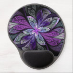 "La Chanteuse Violett Gel Mouse Pad<br><div class=""desc"">Copyright &#169; 2014,  Susan Wallace. Faux stained glass leaves in shades of bright purple,  silver,  periwinkle and violet frame a central flower of vibrant purple in this intricate abstract piece.</div>"