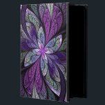 "La Chanteuse Violett iPad Air Case<br><div class=""desc"">Copyright &#169; 2014,  Susan Wallace. Faux stained glass leaves in shades of bright purple,  silver,  periwinkle and violet frame a central flower of vibrant purple in this intricate abstract piece.</div>"