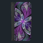 """La Chanteuse Violett iPhone 6 Wallet Case<br><div class=""""desc"""">Copyright &#169; 2014,  Susan Wallace. Faux stained glass leaves in shades of bright purple,  silver,  periwinkle and violet frame a central flower of vibrant purple in this intricate abstract piece.</div>"""