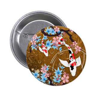 La charca de Koi - madera - japonés diseña el botó Pin Redondo De 2 Pulgadas