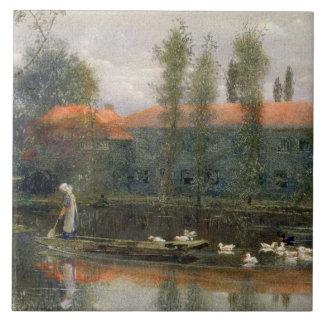 La charca de William Morris trabaja en la abadía d Azulejo Cuadrado Grande