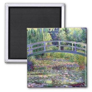 La charca del lirio de agua de Claude Monet Imán Cuadrado