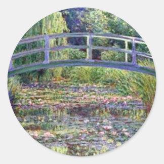 La charca del lirio de agua de Claude Monet Etiquetas Redondas