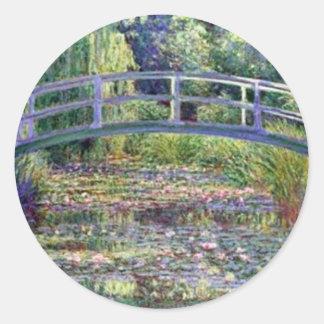 La charca del lirio de agua de Claude Monet Pegatina Redonda