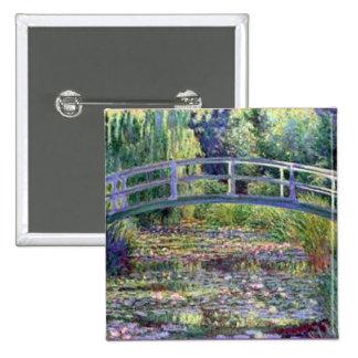 La charca del lirio de agua de Claude Monet Pin Cuadrado