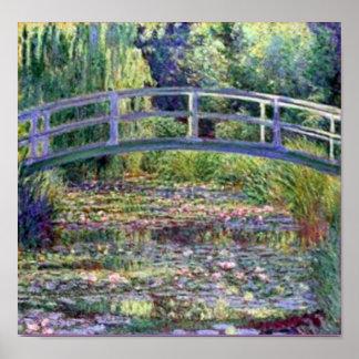 La charca del lirio de agua de Claude Monet Póster