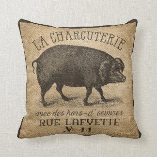 LA CHARCUTERIE Pig Vintage Burlap French Pillow