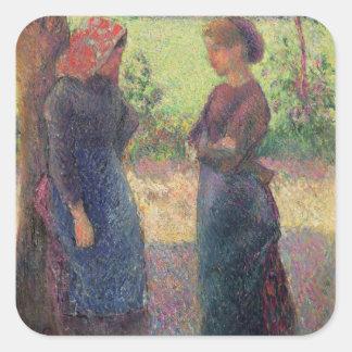 La charla, c.1892 (aceite en lona) pegatina cuadrada