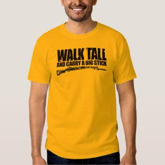La charla del paseo y lleva una camiseta de la playera
