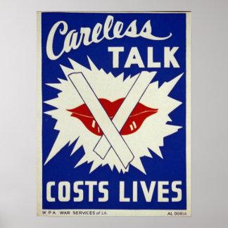 La charla descuidada cuesta vidas póster