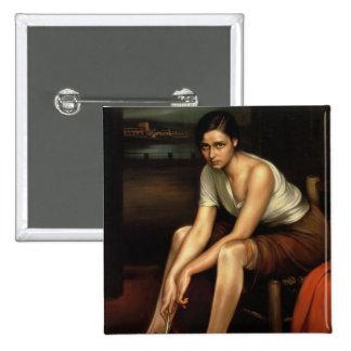 La chica joven de fascinación pin cuadrada 5 cm