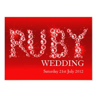 La chispa de rubíes del boda en fiesta de las invitación 11,4 x 15,8 cm