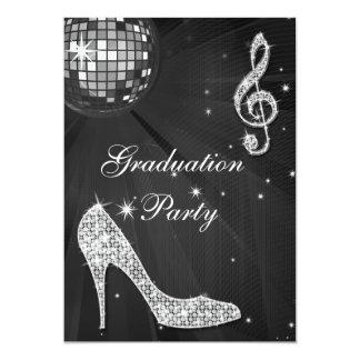 La chispa negra y de plata de la bola de discoteca invitaciones personalizada