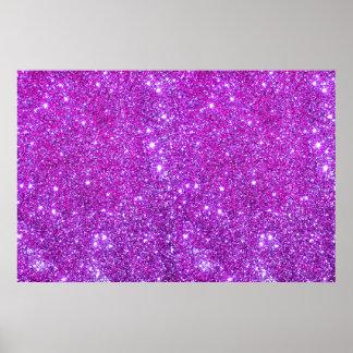 La chispa púrpura rosada del brillo crea el poster