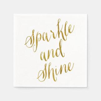 La chispa y el brillo citan la falsa hoja de oro servilletas de papel
