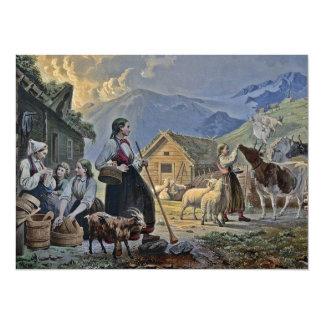 """La choza del Shepherdess en la montaña Invitación 5.5"""" X 7.5"""""""
