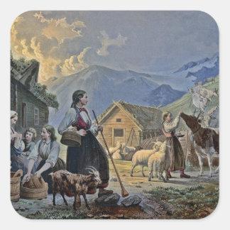La choza del Shepherdess en la montaña Pegatina Cuadrada