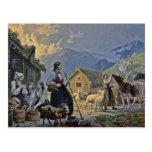 La choza del Shepherdess en la montaña Tarjetas Postales