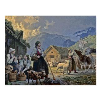 La choza del Shepherdess en la montaña Tarjeta Postal
