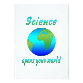 """La ciencia abre los mundos invitación 5"""" x 7"""""""