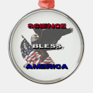 La ciencia bendice la bandera americana de América Adorno Navideño Redondo De Metal