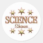 La ciencia brilla pegatina redonda