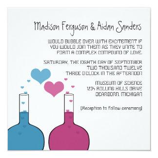 """La ciencia del boda del amor invita invitación 5.25"""" x 5.25"""""""